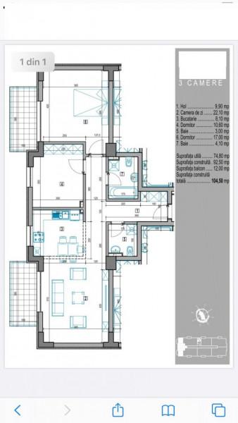 Vanzare 3 camere mobilat, loc parcare, bloc 2017 ,Sisesti