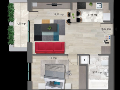 Inchiriere apartament 2 camere NOU-NEW POINT -PIPERA